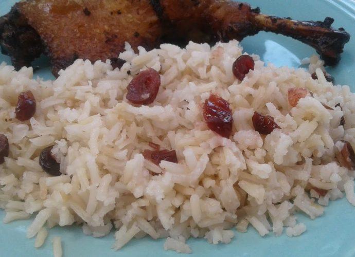 rizsköret, áfonyás rizs, főtt rizs áfonyával