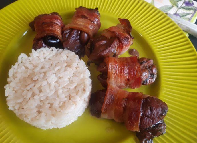 baconbe tekert csirkemáj sütőben