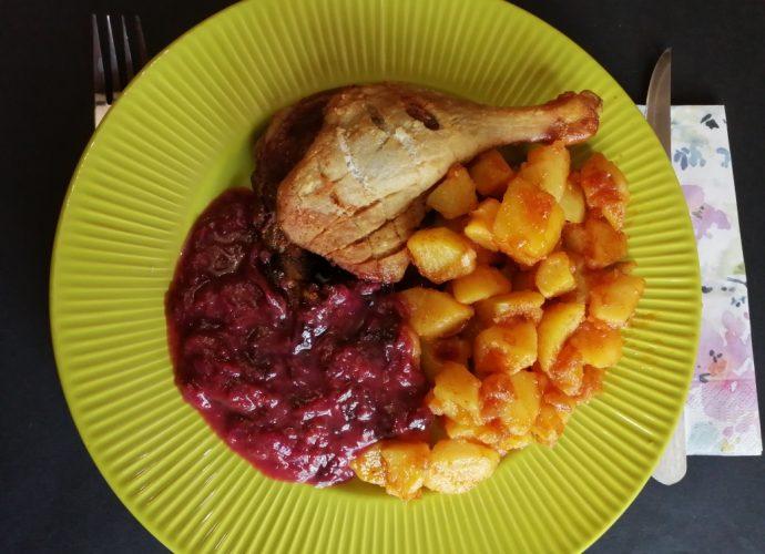 gluténmentes ebéd, ropogós kacsacomb szilvaszósszal